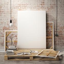 mock up posters frames and canvas in vintage hipster loft interior background, 3D render