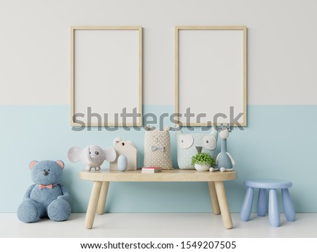 Mock up posters in child room interior, posters on empty white/blue wall background,3D rendering