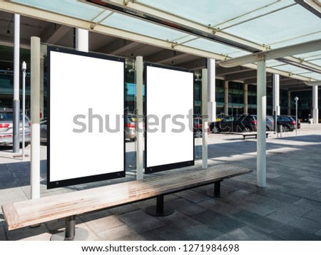 Mock up Posters Signboard Banners template Bus shelter Media outdoor at Airport