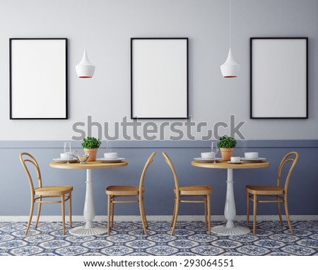 mock up posters with retro hipster cafe restaurant interior background, 3D render
