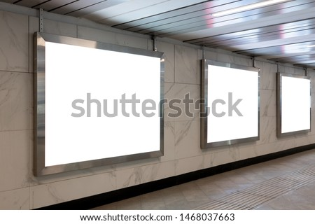 Mock Up Rectangular Lightbox in Underpass. Advertising design in tunnel. Copy space.