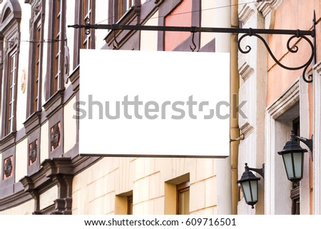 Mock up. Rectangular shape signboard on the wall #609716501