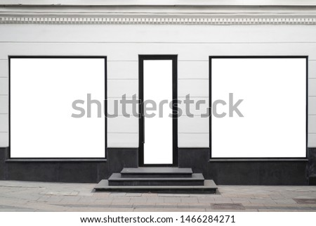 Mock up showcase fashion boutique. Layout facade entrance store with staircase steps and two large windows. Copy space.