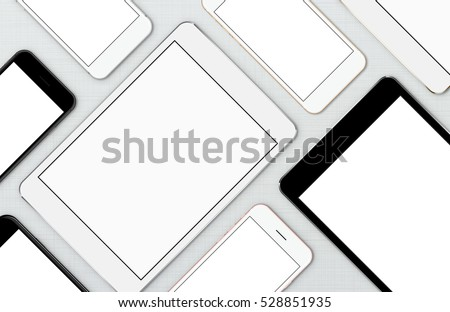mock-up smart phone and digital tablet, modern communication device on top view