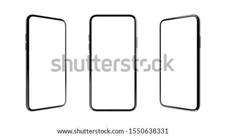 Mock-up smart phone empty screen 3D rendering  on the white background 3 positons