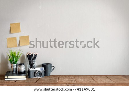 Mock up : Stylish minimalistic white marble table workplace with supplies , vintage camera, house plant. copy space for product display montage. #741149881