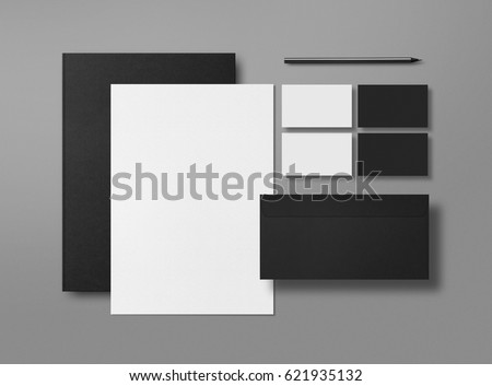 Mock up. Template for branding identity. Blank objects for placing your design. Sheets of paper, business cards and envelope. Top view. 3d illustration.