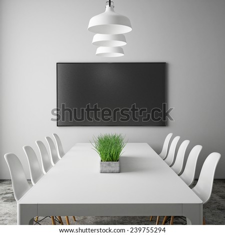 mock up tv screen in meeting room with conference table, hipster interior background, 3D render