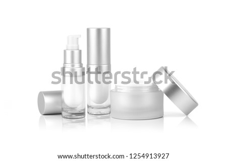 Mock up two empty container cream pump bottle and a cream jar for cosmetic is uncover , isolated on white background with clipping path.