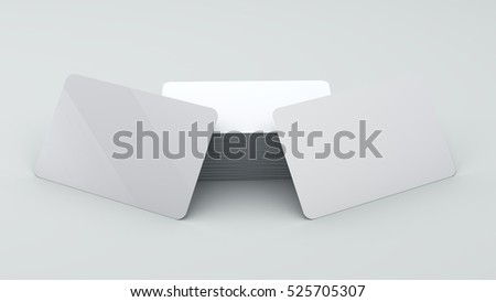 Mock up two plastic cards on white background 3d render