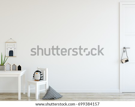 mock up wall in child room interior. Wall art. Interior scandinavian style. 3d rendering, 3d illustration