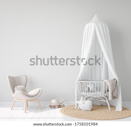 Mock Up wall In farmhouse Interior Background in baby room, nursery mockup, Scandinavian Style, 3D rendering, 3D illustration Foto stock ©