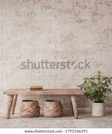 Mock up wall in home interior background, beige room with natural wooden furniture, green plant and rattan basket in Boho Scandinavian style, 3d render, 3d illustration