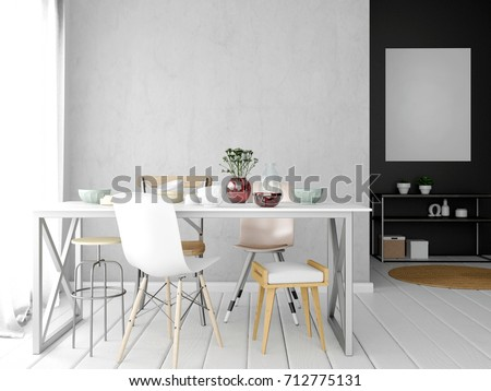 Mock up wall in interior with dining area. living room modern style. 3d illustration
