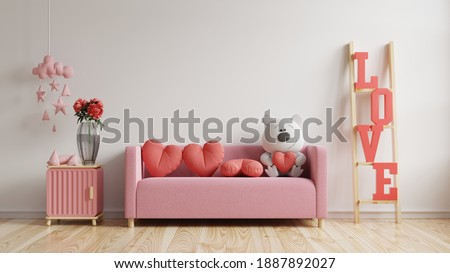 Mock up wall valentine room modern interior have sofa and home decor for valentine's day,3D rendering