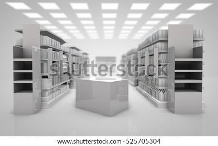mock up white interior super market composition of the two stands displays and pallets 3d render