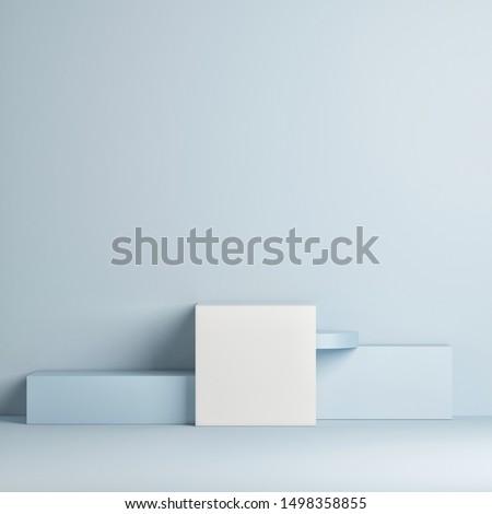 Mock up winner podium, minimal design, blue background, 3d render, 3d illustration