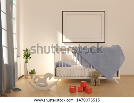 Mock up with an empty frame above crib. Interior of the children's room with a crib and toys.  Sun beam on a white wall. 3D rendering. #1470075515