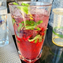 Mocktail mojito muddled mint raspberry