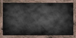 mockup art of vintage chalk board background texture with old vintage wooden frame,panoramic image for work about design element concept