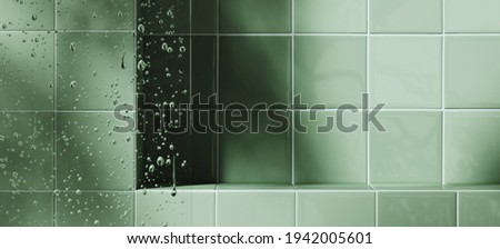 Mockup background for product presentation. Blurred foreground of glass panel and water droplets. Green tile podium with plant shadow. Clipping path included. 3d rendering illustration.  Stock photo ©