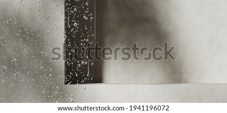 Mockup background for product presentation. Blurred foreground of glass panel with water droplets. Grey podium and plant shadow. Clipping path of each element included. 3d rendering illustration.  Stock photo ©