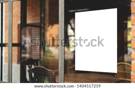 Mockup billboards or white promotion poster displayed on the front of the restaurant, coffee shop Promotion information for marketing announcements and details