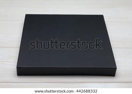 free photos mockup white flat box on black table template ready