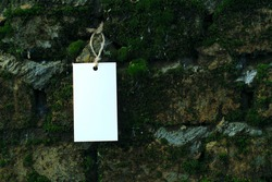 mockup blank white template on a rope on the background of an old brick wall overgrown with moss