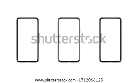 mockup comparative background with three expensive frameless phones with white blank displays on white blank background. 3d render