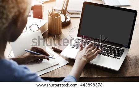 Mockup Copyspace Computer Notebook Laptop Concept #443898376