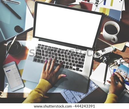 Mockup Copyspace Computer Notebook Laptop Concept #444243391