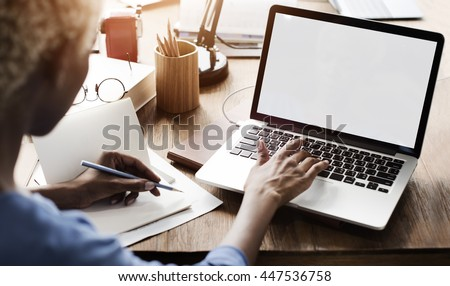 Mockup Copyspace Computer Notebook Laptop Concept #447536758