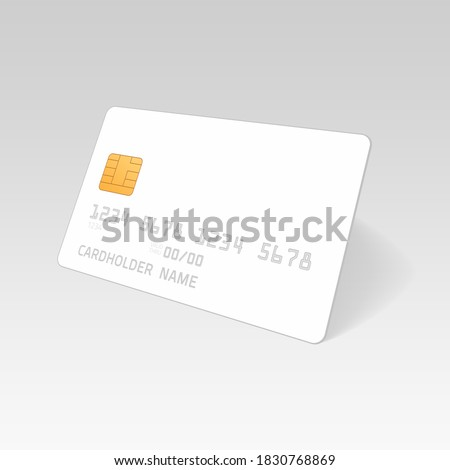 Mockup Credit Card. Empty plastic card template isolated on white background. Realistic style. Business and finance concept.  Foto stock ©
