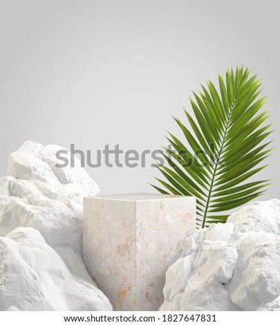 Mockup Empty Stone Podium With Natural Concept Rock And Palm Leaves Abstract Background 3d Render