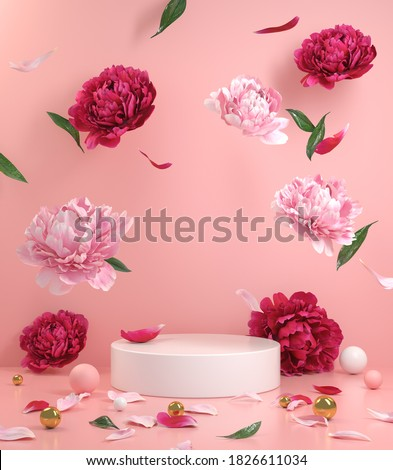 Mockup Empty White Podium With Floral Peonies Flower Pink And Red Falling On The Floor With Pink Pastel Background 3d Render