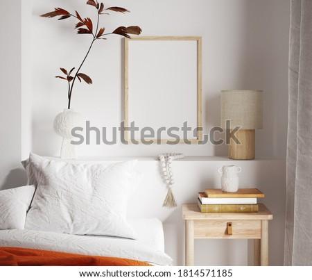 Mockup frame close up in bedroom interior background, 3d render Foto stock ©