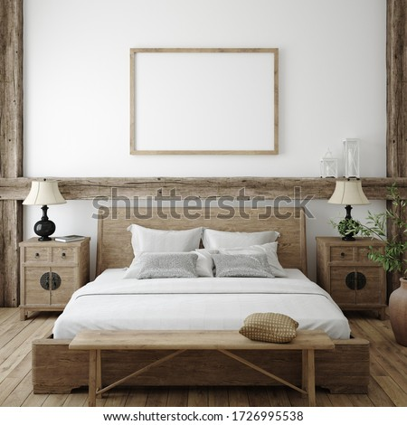 Mockup frame in bedroom interior background, Farmhouse style, 3d render Сток-фото ©