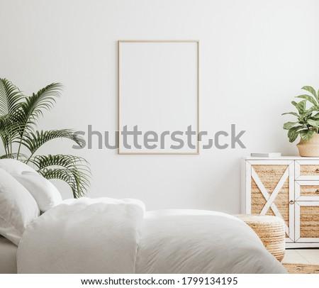 Mockup frame in bedroom interior background, Farmhouse style, 3d render Foto stock ©