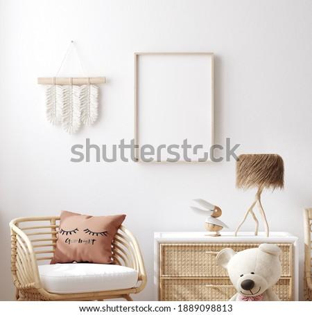 Mockup frame in children bedroom with wicker furniture, Coastal boho style, 3d render