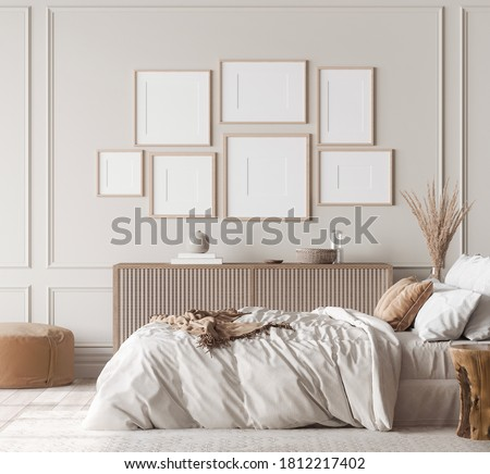 Mockup frame in contemporary bedroom design, gallery wall in bight home decor, 3d render, 3d illustration Stock photo ©