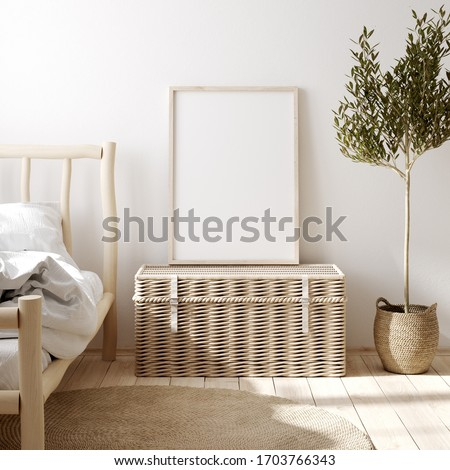 Mockup frame in farmhouse bedroom  interior, 3d render