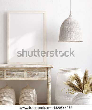 Mockup frame in farmhouse living room interior, 3d render Foto stock ©