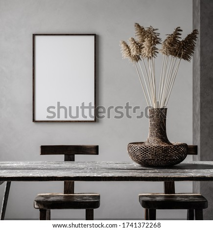 Mockup frame in Nomadic style interior background, 3d render stock photo