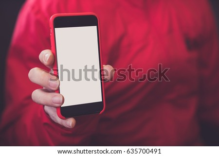 Mockup hands phone mock up screen holding display blank white #635700491