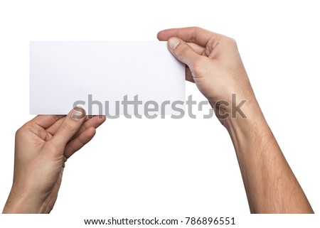 Mockup horizontal flyer empty blank white holds the man in his hand. Isolated on a white background #786896551
