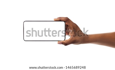 Mockup Image Of Smartphone With Blank Screen In Black Girl's Hand Isolated On White. Panorama, Copy Space