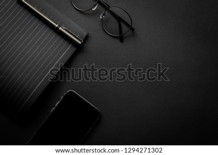 mockup image.office equipment on desk black table.blank background empty copy space for text design studio creativity ideas for study,education,business modern accessories at workplace.blogging,blog  #1294271302