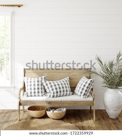 Mockup in farmhouse interior background, 3d render