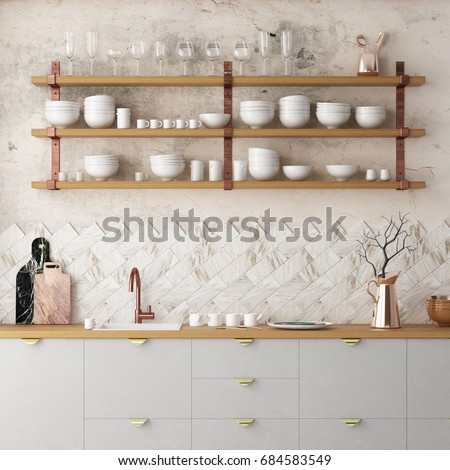 Mockup interior kitchen in loft style. 3d rendering. 3d illustration.